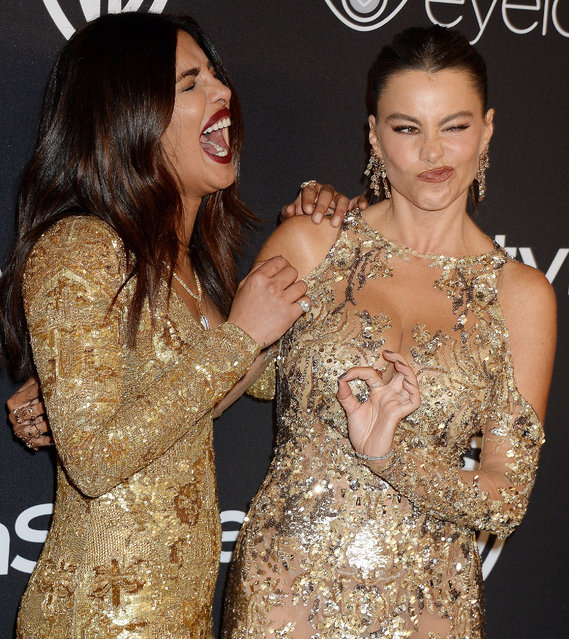 Actresses Priyanka Chopra (L) and Sofia Vergara attend the 18th Annual Post-Golden Globes Party hosted by Warner Bros. Pictures and InStyle at The Beverly Hilton Hotel on January 8, 2017 in Beverly Hills, California. (Photo by Broadimage/Rex Features/Shutterstock)