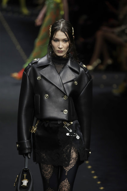 Model Bella Hadid wears a creation as part of the Versace women's Fall-Winter 2019-2020 collection, that was presented in Milan, Italy, Thursday, Friday, February 22, 2019. (Photo by Luca Bruno/AP Photo)