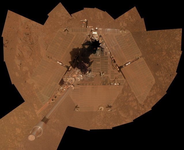 This composite image released by NASA shows a self-portrait that was taken by the NASA rover Opportunity weeks before its tenth landing anniversary on Mars. The rover's panoramic camera (Pancam) took the images during the interval January 3, 2014, to January 6, 2014, a few days after winds removed some of the dust that had been accumulating on the rover's solar panels.(Photo by AP Photo/NASA)