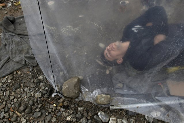 A refugee sleeps under a plastic cover at a makeshift camp for refugees and migrants at the Greek-Macedonian border, near the village of Idomeni, Greece March 16, 2016. (Photo by Alkis Konstantinidis/Reuters)