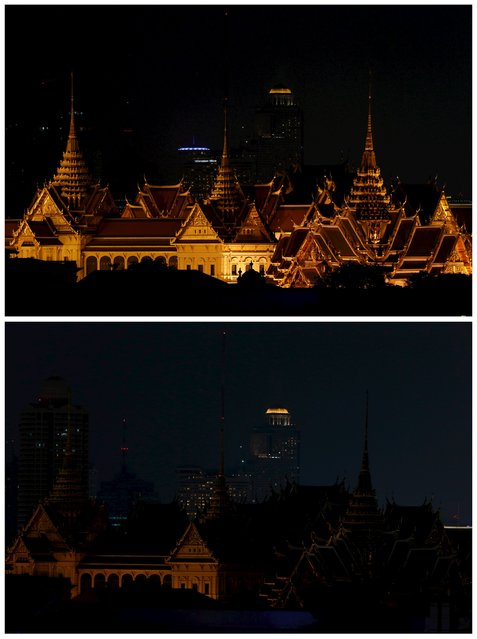 Combination picture shows the Grand Palace before (top) and during Earth Hour in Bangkok, Thailand on March 19, 2016. (Photo by Jorge Silva/Reuters)