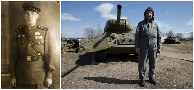 World War Two veteran and former tank driver Foma Kryuchkov, 92, is seen in an undated handout photo (L) and posing for a picture in front of a T-34 Soviet-made tank in Moscow region, Russia on April 22, 2015. Kryuchkov, retired colonel, a Red Army serviceman who served as a mechanic and tank driver and then commander of a tank squadron at the Volkhov, 2nd Baltic and Leningrad fronts. (Photo by Maxim Zmeyev (R)//Family Handout via Reuters (L))