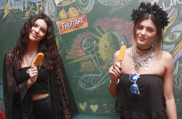 Kendall and Kylie Jenner visited the Fruttare Hangout at Coachella to refresh in between sets with a Fruttare Frozen Fruit Bar on April 12, 2014 in Indio, California. (Photo by Todd Oren/Getty Images for Fruttare)