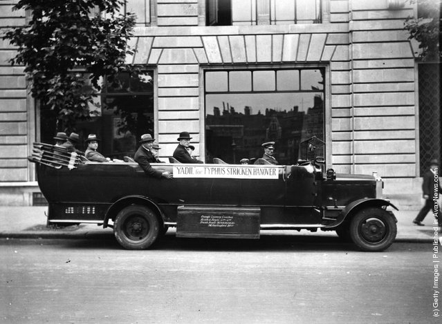 1926: A charabanc taking a consignment of Yadil to Croydon to alleviate the typhus epidemic in Germany