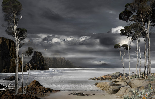 """Prospero's Island – North East by Valerie Sparks won Bowness Photography prize 2016. The digitally composed image """"explores the narrative arc of The Tempest from vengeance to forgiveness"""", the artist explained. """"The wild cliffs of Tasmania's south coast are brought together with the sublime stillness of the north and east coasts to explore the theme of displacement, which is central to both The Tempest and the turbulent history of Tasmania"""". (Photo by Valerie Sparks)"""