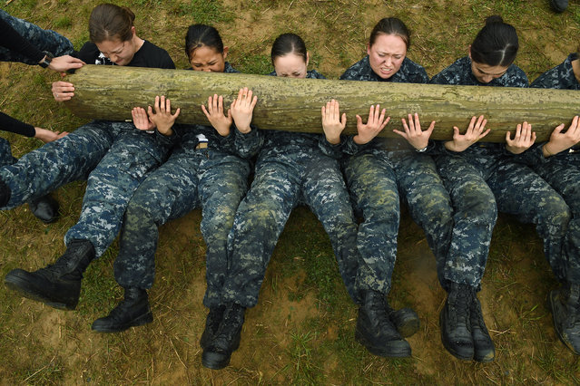 United States Naval Academy plebes take part in log pt during Sea Trials at the United States Naval Academy on Tuesday May 17, 2016 in Annapolis, MD. (Photo by Matt McClain/The Washington Post)