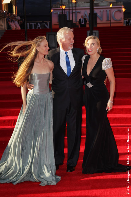 L-R Suzy Amis, James Cameron and Kate Winslet attend the world premiere of Titanic 3D at The Royal Albert Hall