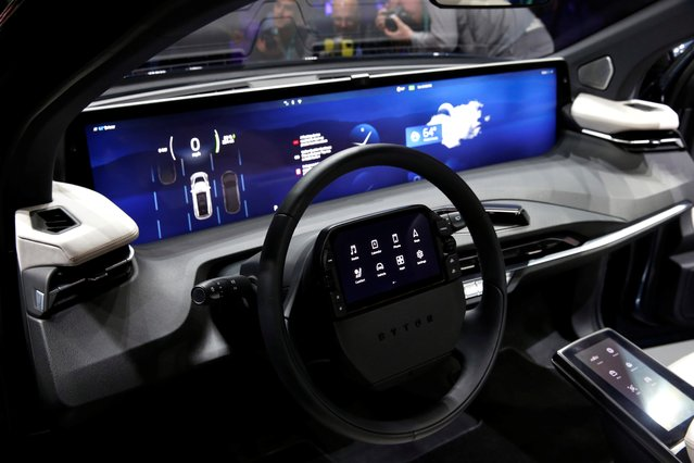 An interior view of the Byton M-Byte all-electric SUV, expected to enter mass production this year, is shown at a news conference during the 2020 CES in Las Vegas, Nevada, U.S. January 5, 2020. (Photo by Steve Marcus/Reuters)
