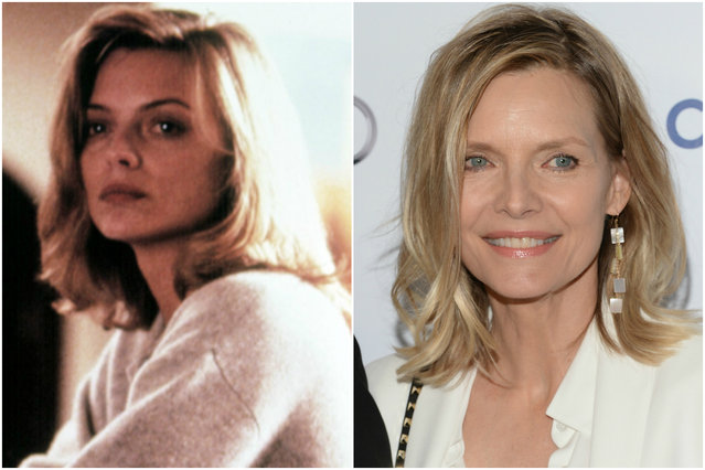 Michelle Pfeiffer in 1988 and today. (Photo by Everett Collection/Getty Images)
