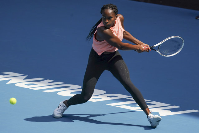 "United States' Cori ""Coco"" Gauff hits a backhand return during a practice session ahead of the Australian Open tennis championship in Melbourne, Australia, Sunday, January 19, 2020. (Photo by Lee Jin-man/AP Photo)"