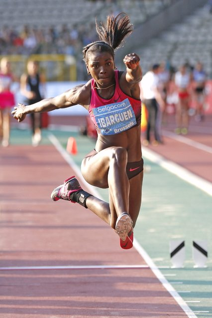 Caterine Ibarguen of Colombia competes in the women's triple jump during the IAAF Diamond League athletics meeting, also known as Memorial Van Damme, in Brussels, in this September 6, 2013 file photo. (Photo by Francois Lenoir/Reuters)