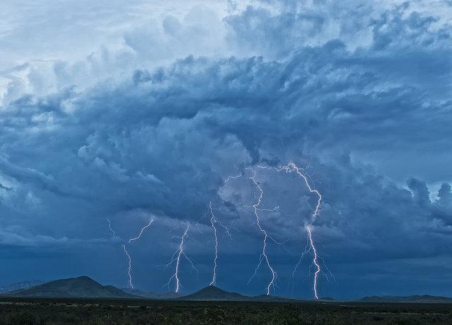 Lightning. Taken on Davis Road looking east into the Sulphur Spring's Valley, 2011