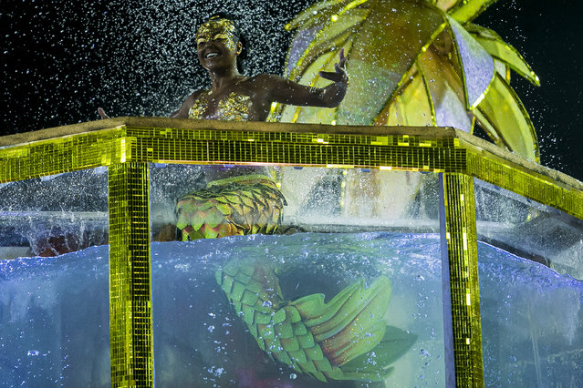 A member of Unidos do Viradouro samba school dressed as a mermaid performs on top of a float during the first night of 2020 Rio's Carnival Parades at the Sapucai Sambadrome on February 23, 2020 in Rio de Janeiro, Brazil. Carnival is the biggest and most popular celebration in Brazil. (Photo by Bruna Prado/Getty Images)
