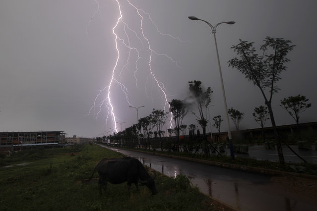 Lightning strikes in Poyang county in Jiujiang, Jiangxi province, July 20, 2010. Much of China has been suffering flooding and landslides after weeks of torrential downpours. (Photo by Aly Song/Reuters)