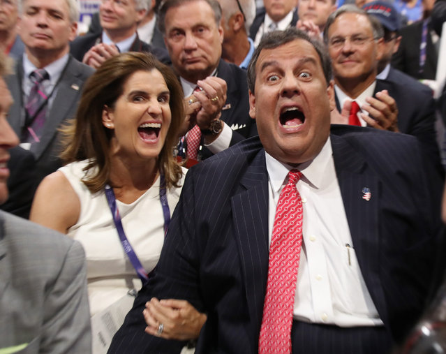 New Jersey Governor Chriis Christie (R) sits with his wife Mary Pat (L) and react as Donald Trump's son Donald Trump Jr. speaks on the second day of the 2016 Republican National Convention at Quicken Loans Arena in Cleveland, Ohio, USA, 19 July 2016. The four-day convention is expected to end with Donald Trump formally accepting the nomination of the Republican Party as their presidential candidate in the 2016 election. (Photo by Andrew Gombert/EPA)