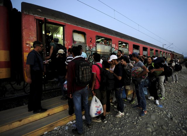 Migrants wait to get on a train after crossing into Macedonia, near the border with Greece, August 31, 2015. Migrants are trekking from the southern Macedonian border near Gevhelija to the northern border with Serbia on their way to Western Europe. Trains carrying hundreds of migrants started arriving in Vienna on Monday after Austrian authorities appeared to give up trying to apply European Union rules by filtering out refugees who had already claimed asylum in Hungary. (Photo by Ognen Teofilovski/Reuters)