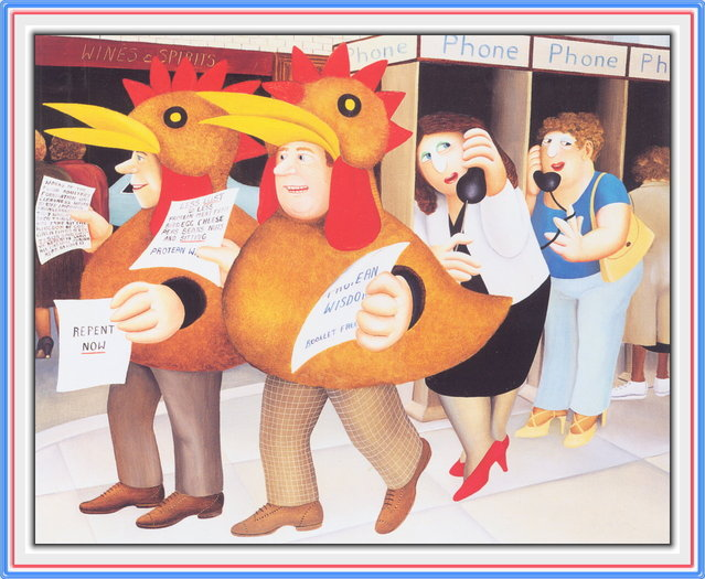 Chicken Suits. Artwork by Beryl Cook