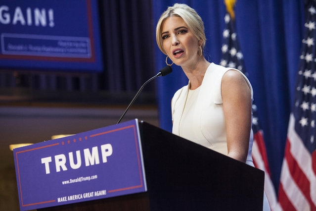Ivanka Trump arrives to a press event where her father, business mogul Donald Trump, announced his candidacy for the U.S. presidency at Trump Tower on June 16, 2015 in New York City. Trump is the 12th Republican who has announced running for the White House. (Photo by Christopher Gregory/Getty Images)