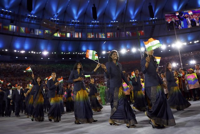 2016 Rio Olympics, Opening ceremony, Maracana, Rio de Janeiro, Brazil on August 5, 2016. Athletes from India (IND) enter the stadium. (Photo by Kai Pfaffenbach/Reuters)