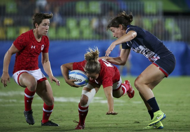 2016 Rio Olympics, Rugby, Women's Bronze Medal Match Canada vs Britain, Deodoro Stadium, Rio de Janeiro, Brazil on August 9, 2016. Alice Richardson (GBR) of United Kingdom tackles Ashley Steacy (CAN) of Canada. (Photo by Alessandro Bianchi/Reuters)