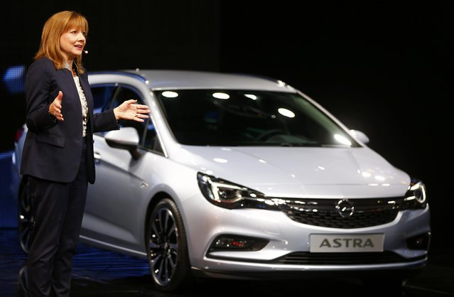 General Motors CEO Mary Barra presents the new Opel Astra during the media day at the Frankfurt Motor Show (IAA) in Frankfurt, Germany September 15, 2015. (Photo by Kai Pfaffenbach/Reuters)