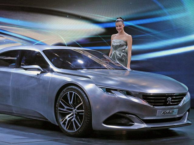 The Peugeot concept car Exalt is presented at the Paris Motor Show, in Paris, Thursday October 2, 2014. (Photo by Remy de la Mauviniere/AP Photo)