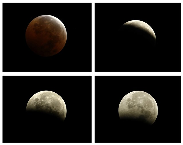 """A combination photo shows (clockwise from top left) the moments during and after a total lunar eclipse, also known as a """"blood moon"""", pictured from Encinitas, California October 8, 2014. The coppery, reddish color the moon takes is made as it passes into Earth's shadow. The total eclipse is the second of four over a two-year period that began April 15 and concludes on Sept. 28, 2015. The so-called tetrad is unusual because the full eclipses are visible in all or parts of the United States, according to retired NASA astrophysicist Fred Espenak. (Photo by Mike Blake/Reuters)"""