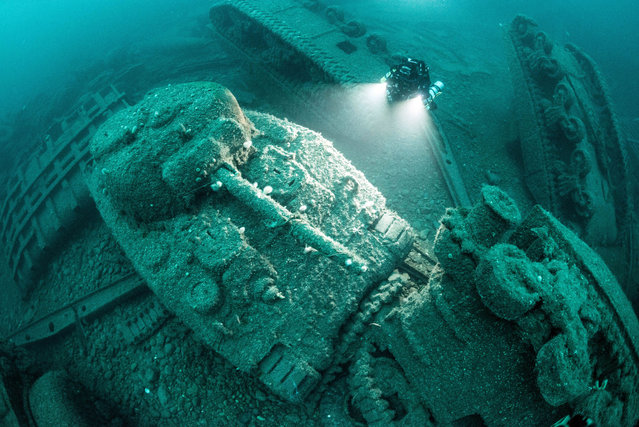 American Sherman tanks from the second world war lie on the Atlantic seabed where the ships that were carrying them were torpedoed and sunk off the north-west coast of Ireland on August 26, 2016. (Photo by Darragh Norton/Caters News Agency)