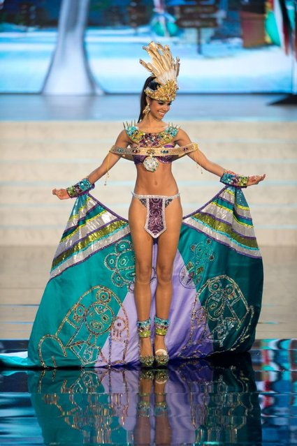 Miss Universe Puerto Rico 2012, Bodine Koehler performs onstage at the 2012 Miss Universe National Costume Show on Friday, December 14, 2012 at PH Live in Las Vegas, Nevada. The 89 Miss Universe Contestants will compete for the Diamond Nexus Crown on December 19, 2012. (Photo by AP Photo/Miss Universe Organization L.P., LLLP)