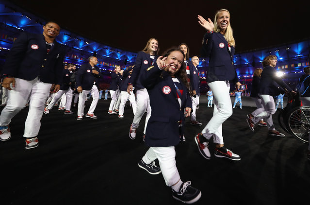 Members of the United States enter the stadium during the Opening Ceremony of the Rio 2016 Paralympic Games at Maracana Stadium on September 7, 2016 in Rio de Janeiro, Brazil. (Photo by Buda Mendes/Getty Images)