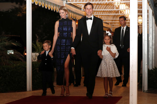White House senior advisors Ivanka Trump and Jared Kushner arrive with their children Joseph and Arabella for a New Year's Eve party at President Donald Trump's Mar-a-Lago club, December 31, 2017. (Photo by Jonathan Ernst/Reuters)