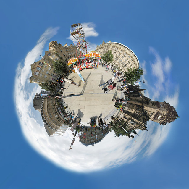 """In the Fargate shopping district, with the town hall to the right. (""Little Planets"" Project. Photo and comment by Dan Arkle)"