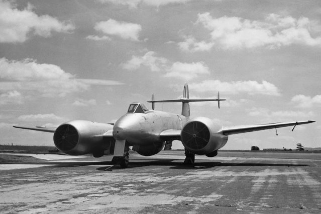 Britain's first jet deflection plane, an experimental Gloster Meteor aircraft fitted with 60-degree downward deflection units beneath each of its two rolls Royce Nene jet engines, shown February 15, 1955. Thrust from the deflected jet streams enables the plane to take off on shorter runways,and considerably reduces the stalling speed. (Photo by AP Photo)