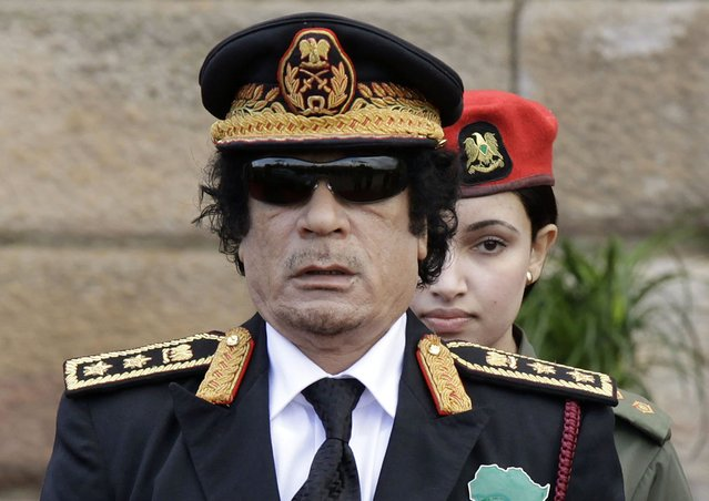 Libyan leader Muammar Gaddafi attends the inauguration ceremony of Jacob Zuma on May 9, 2009 in Pretoria, South Africa. Jacob Gedleyihlekisa Zuma is South Africa's fourth President since the end of apartheid. (Photo by Foto24/Gallo Images/Getty Images)