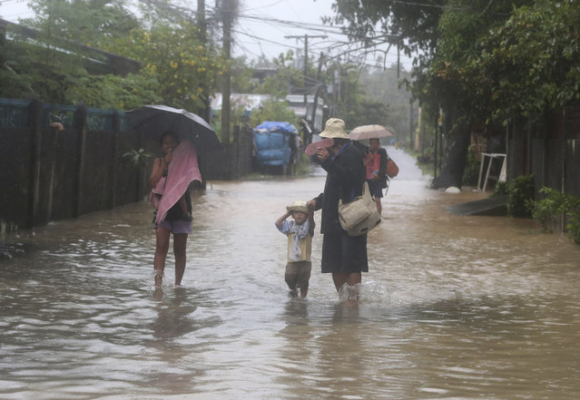 A family walks along a flooded street during a heavy rain brought by Typhoon Hagupit in Legazpi, Albay province, eastern Philippines on Sunday, December 7, 2014. (Photo by Aaron Favila/AP Photo)
