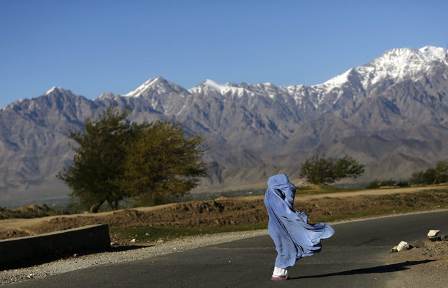 An Afghan woman in a burqa walks along a road on a windy day on the outskirts of Kabul April 16, 2013. (Photo by Mohammad Ismail/Reuters)