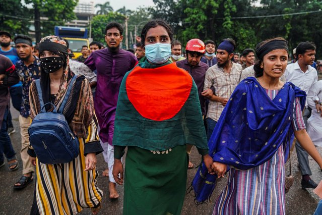 Students march on the street during the demonstration. Bangladeshi students took to the streets in protest against gang-rape and brutal torturing of a woman in the southern district of Noakhali in Dhaka on October 7, 2020. (Photo by Zabed Hasnain Chowdhury/SOPA Images/LightRocket via Getty Images)