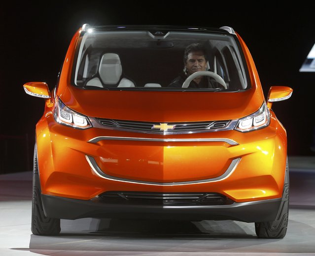 The Chevrolet Bolt EV electric concept car is unveiled during the first press preview day of the North American International Auto Show in Detroit, Michigan January 12, 2014. (Photo by Rebecca Cook/Reuters)