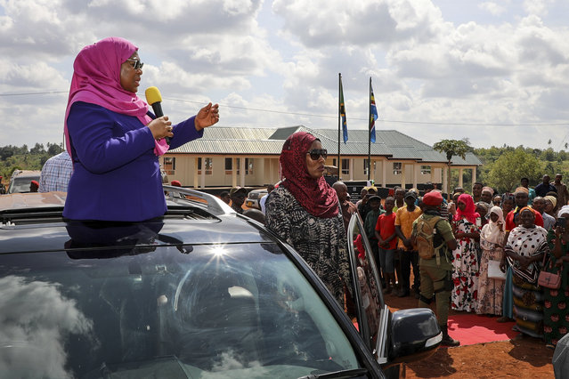 Tanzania's Vice President Samia Suluhu, left, speaks during a tour of the Tanga region of Tanzania Tuesday, March 16, 2021. Vice President Suluhu announced Wednesday, March 17, 2021 that President John Magufuli of Tanzania, a prominent COVID-19 skeptic whose populist rule often cast his country in a harsh international spotlight, has died aged 61 of heart failure. (Photo by AP Photo/Stringer)