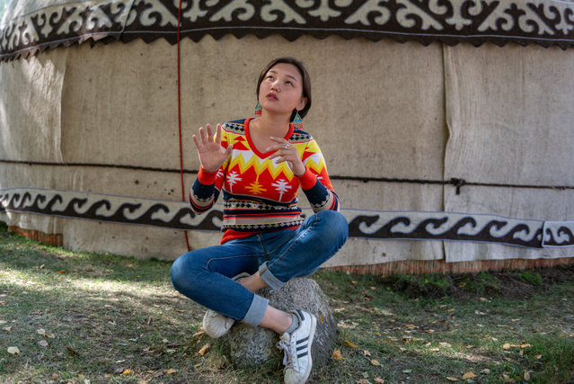 Baktygul Rakymbaeva, 16, is one of few women or girls who can recite the Epic of Manas, a poem dating back to the 18th century that consists of approximately 500,000 lines and tells the history and events of the Kyrgyzstan region. She began learning it at the age of four but stopped because she was repeatedly told it was inappropriate for a woman to be reciting the Manas. She started again when she was 12 and began to win competitions, which brought support from her family and friends. (Photo by Eleanor Moseman/The Guardian)