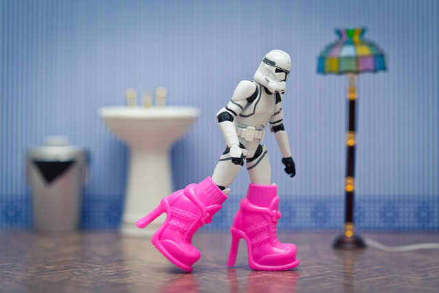 A storm trooper wears high heeled boots, taken in Glasgow, Scotland, December 2016. (Photo by David Gilliver/Barcroft Images)