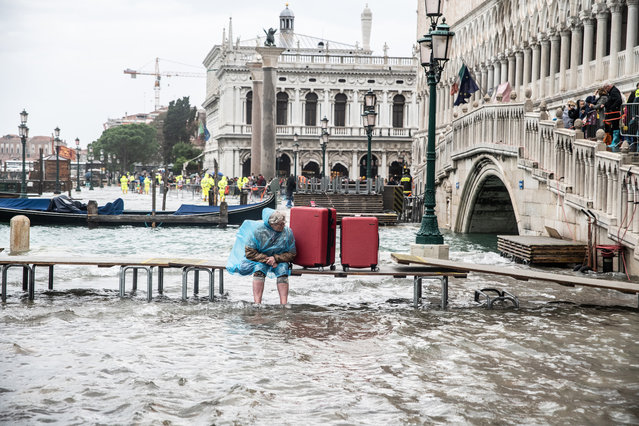 High water in Venice in several areas of the city, also during the Venice Marathon, on 28 October 2018 in Venice, Italy. (Photo by Giacomo Cosua/NurPhoto via Getty Images)