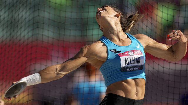 Valarie Allman competes during the prelims of women's discus throw at the U.S. Olympic Track and Field Trials Friday, June 18, 2021, in Eugene, Ore. (Photo by Charlie Riedel/AP Photo)
