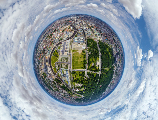 Square of the Republic (Platz der Republik), also visible is the Reichstag building, Berlin, Germany. (Photo by Airpano/Caters News)