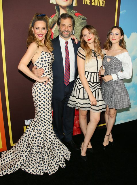 "Leslie Mann, Iris Apatow, Maude Apatow and Judd Apatow attend Universal Pictures and DreamWorks Pictures' premiere of ""Welcome To Marwen"" at ArcLight Hollywood on December 10, 2018 in Hollywood, California. (Photo by JB Lacroix/Getty Images)"