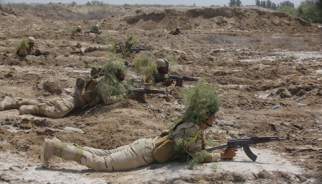 Iraqi security forces use bushes as camouflage as part of military training in Jurf al-Sakhar, Iraq April 9, 2015. (Photo by Alaa Al-Marjani/Reuters)