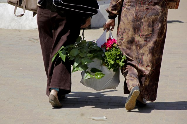"Egyptian women carry flower pots after purchasing them from Orman Garden, during Sham el-Nessim, or ""smelling the breeze"", in Giza, Egypt, Monday, April 13, 2015. (Photo by Amr Nabil/AP Photo)"