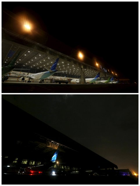 A combination photo showing a Garuda Maintenance Facility (GMF) hangar before (top) and during Earth Hour at Soekarno-Hatta airport near Jakarta, Indonesia, March 19, 2016. (Photo by Reuters/Beawiharta)