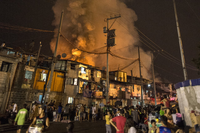 Residents look on as a fire destroys hundreds of  houses at an informal settlers community in Delpan, Tondo, Manila on February 7, 2017. (Photo by Noel Celis/AFP Photo)
