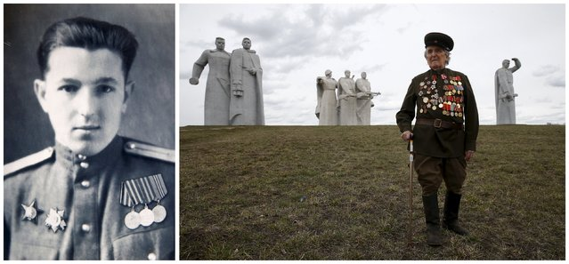 World War Two veteran and former infantry soldier Valentin Barmin, 88, is seen in an undated handout photo (L) and posing for a picture at the so-called 28 Panfilov Heroes Memorial Park in Moscow region, Russia on April 23, 2015. Barmin, a Red Army infantry soldier, served as a medical troop commander at the 2nd and 3rd Belarussian fronts. (Photo by Maxim Zmeyev (R)//Family Handout via Reuters (L))